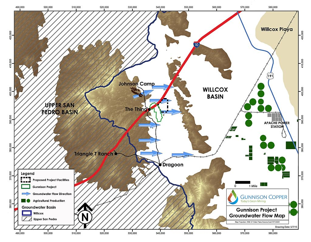 Gunnison Copper Groundwater Flow Map 05-07-15